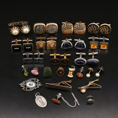 Cufflinks, Tie Tacs, Pendant and Tie Bars Including Sterling and Peridot