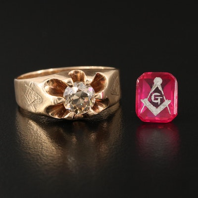 Antique Masonic 14K 1.12 CT Diamond Belcher Ring and Loose Laboratory Grown Ruby
