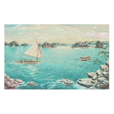 """Large-Scale Seascape Oil Painting """"Hundred Islands: Philippines,"""" 1973"""