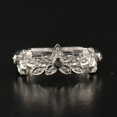 Sterling Diamond and Zircon Floral Ring