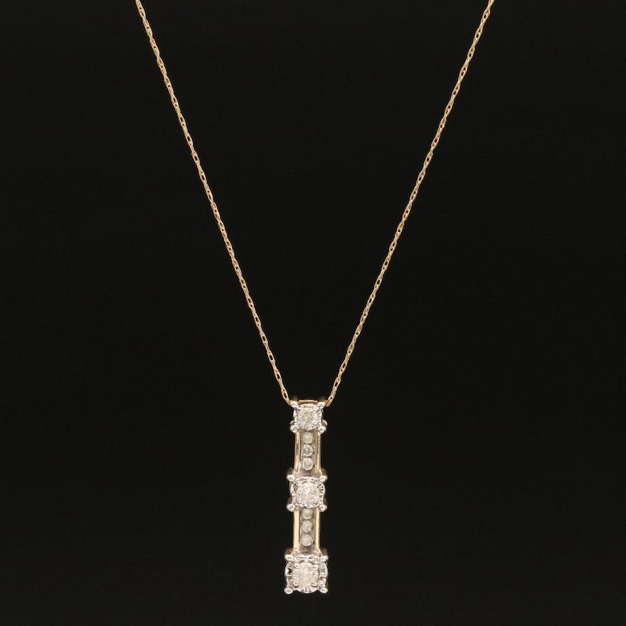 14K 0.24 CTW Diamond Bar Pendant Necklace