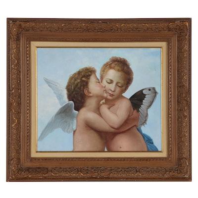 """Oil Painting After William-Adolphe Bouguereau """"L'Amour et Psyché, Enfants"""""""