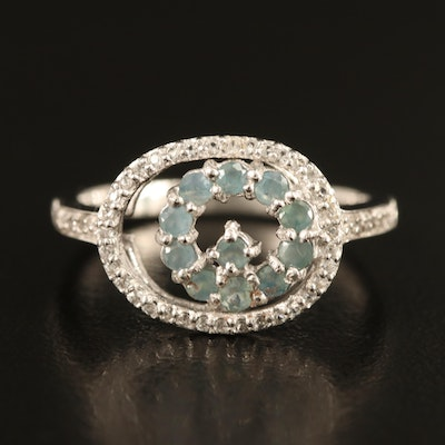 Sterling Alexandrite and Zircon Oval Ring