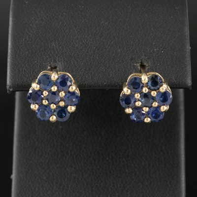 Sterling Silver Sapphire Cluster Button Earrings