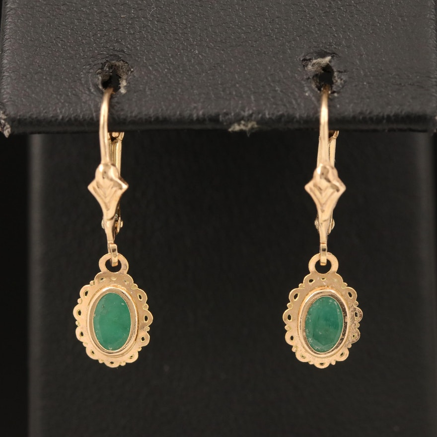 14K Emerald Earrings