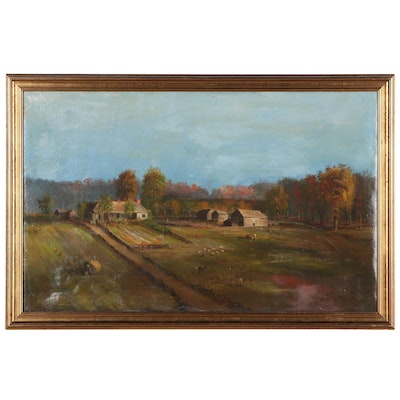 Pastoral Landscape Oil Painting Attributed to Jacob Cox, Mid-19th Century