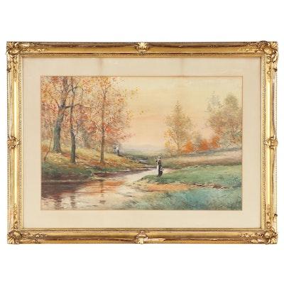 Joseph Conover Claghorn Landscape Watercolor Painting, 1909