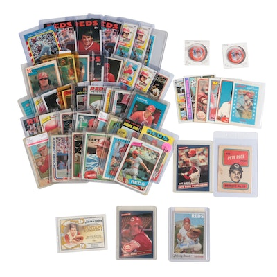 Pete Rose and Johnny Bench MLB Cards with Signed Card, Pins and Topps Booklet