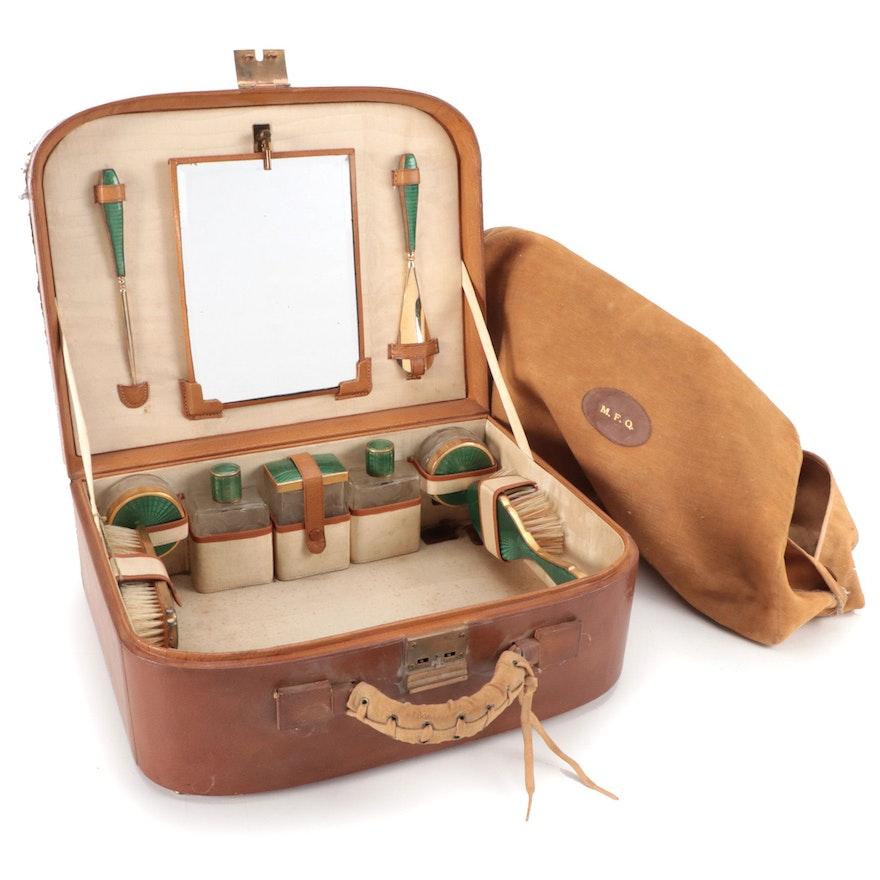 Art Deco Guilloché Enameled Nine Piece Travel Set in Original Leather Case