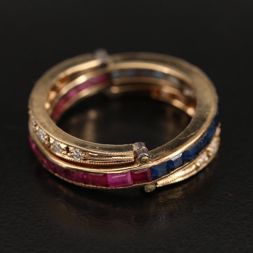 """Vintage 18K """"Day to Night"""" Convertible Sapphire, Ruby and 0.25 CTW Diamond Ring"""