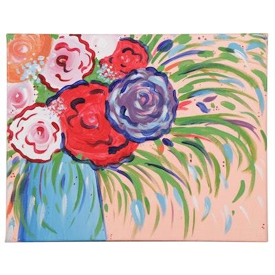 "Hannah Wheeler Acrylic Painting ""Pinot's Poppin' Peonies,"" 2021"