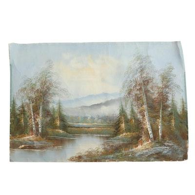 Alpine Landscape Oil Painting, 21st Century