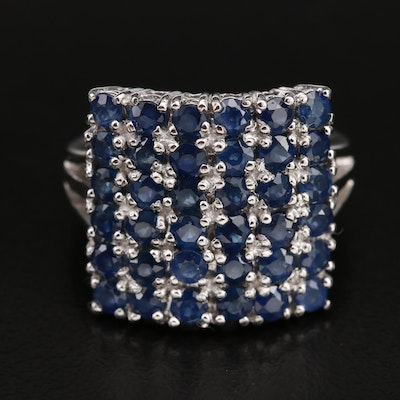 Multi-Row Sapphire Ring in Sterling Silver