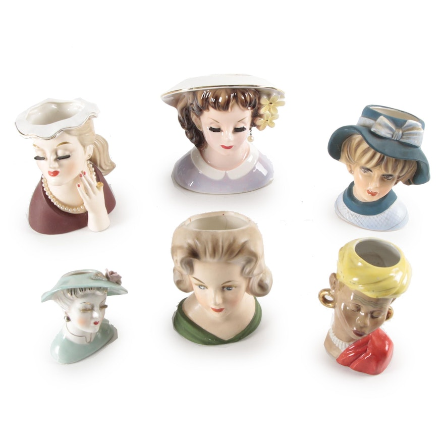 Napco, Relpo and Other Porcelain and Ceramic Lady Head Vases, Mid-20th C