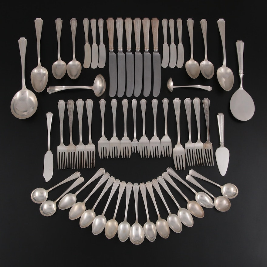 """Durgin """"Colfax"""" Sterling Silver Flatware and Serving Utensils, Early 20th C."""