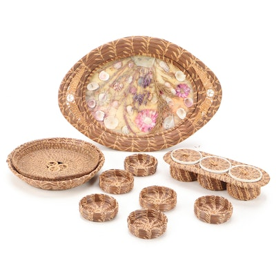 Hand Woven Seagrass and Glass Seashell Tray, Baskets and Condiment Caddy