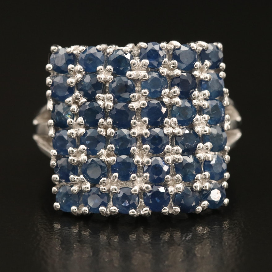 Sterling Sapphire Square Cluster Ring