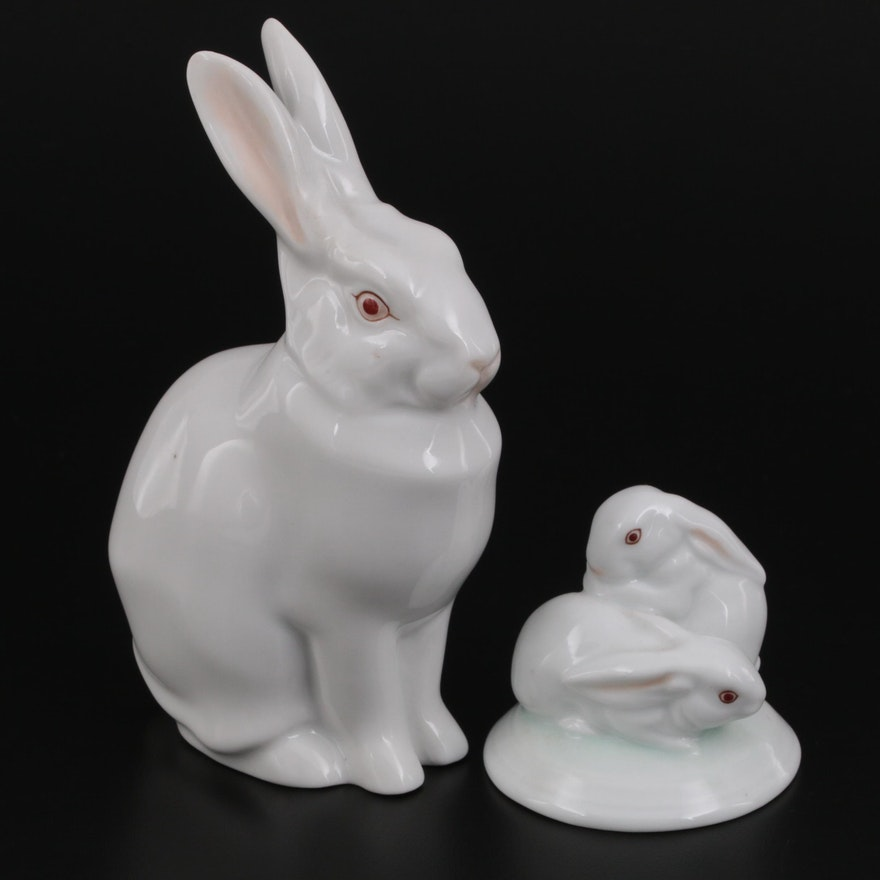 """Herend """"Sitting Rabbit"""" and """"Pair of Rabbits"""" White Porcelain Figurines"""