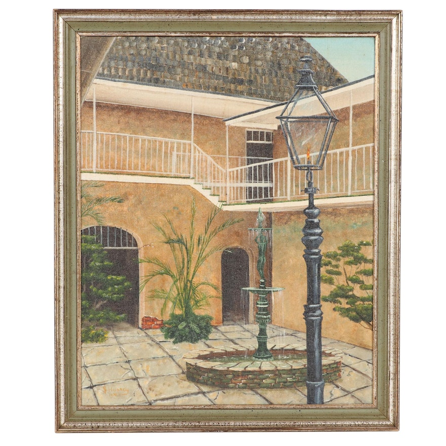 James Hussey New Orleans Courtyard Oil Painting, 1970