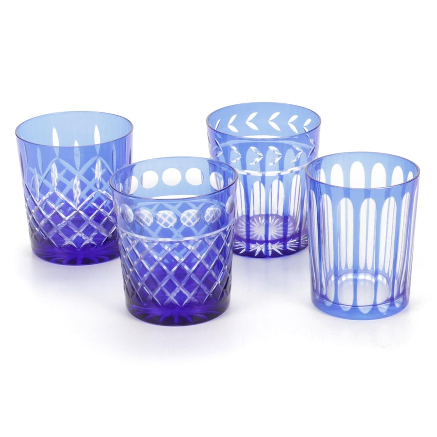 Bohemian Style Cobalt Blue Cut To Clear Old Fashioned Glasses