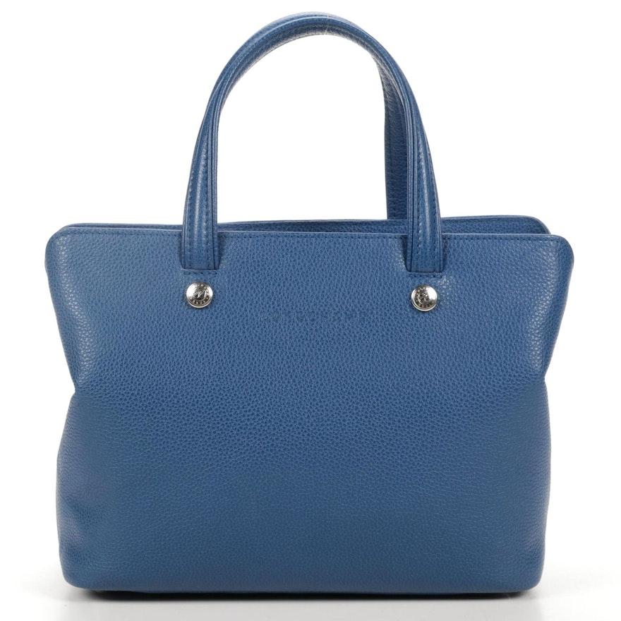 Longchamp Blue Pebbled Leather Convertible Handbag