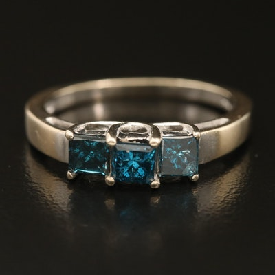 14K 0.98 CTW Diamond Three Stone Ring with Trellis Setting