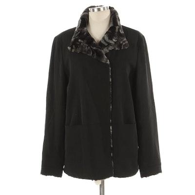 Giorgio Armani Black Wool Jacket with Faux Fur Lining