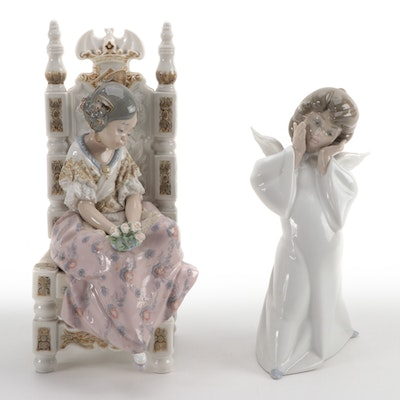 """Lladró """"Second Thoughts"""" and """"Mime Angel"""" Porcelain Figurines"""