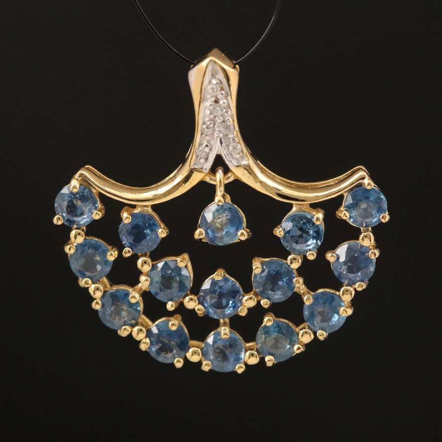 Sterling Sapphire and Zircon Fan Pendant with Center En Tremblant