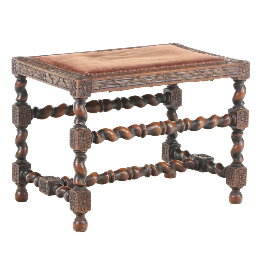 Jacobean Revival Carved Oak Stool, Late 19th/Early 20th Century