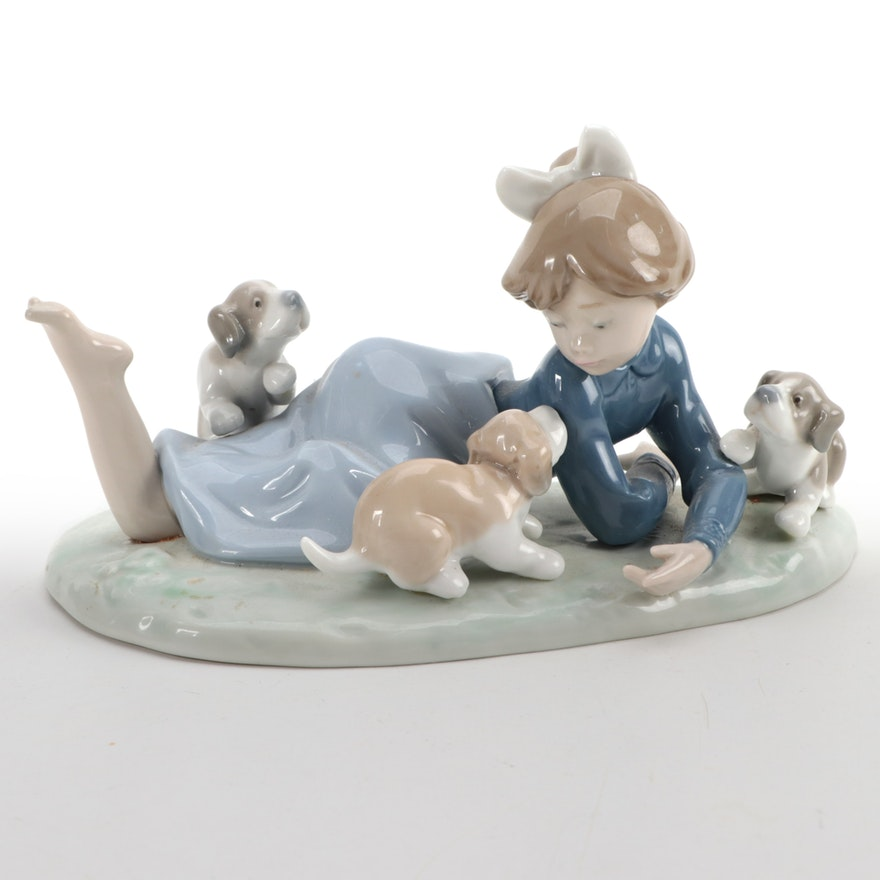 "Lladró ""Playful Romp"" Porcelain Figurine Designed by Francisco Polope"