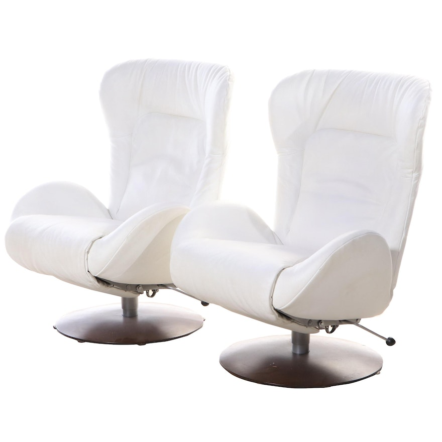 Pair of Lafer Modernist Style White Leather Swivel-Recliners