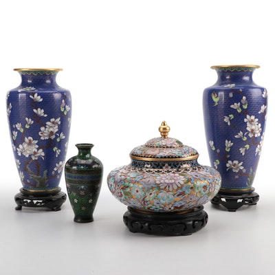 Japanese Ginbari and Chinese Cloisonné Vases with Champlevé Jar