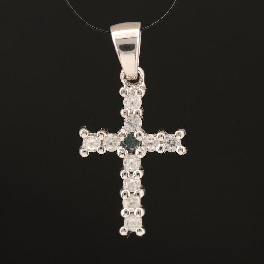 Sterling Diamond and Zircon Cross Pendant