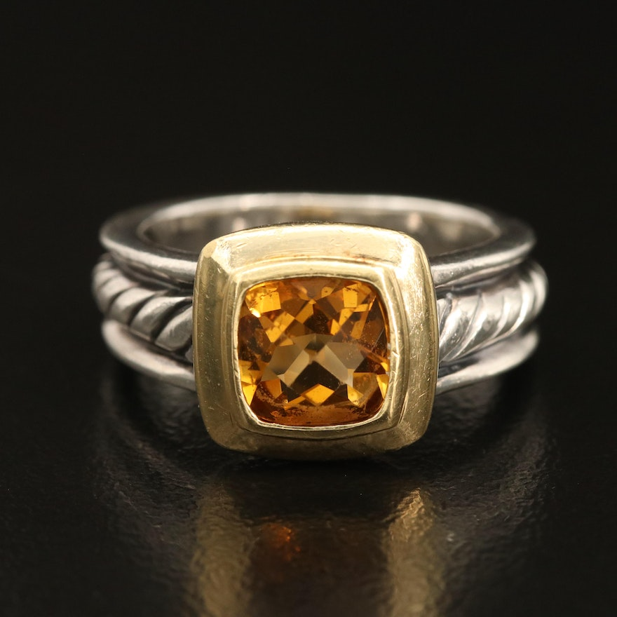 David Yurman Citrine Cable Ring with 18K Accent