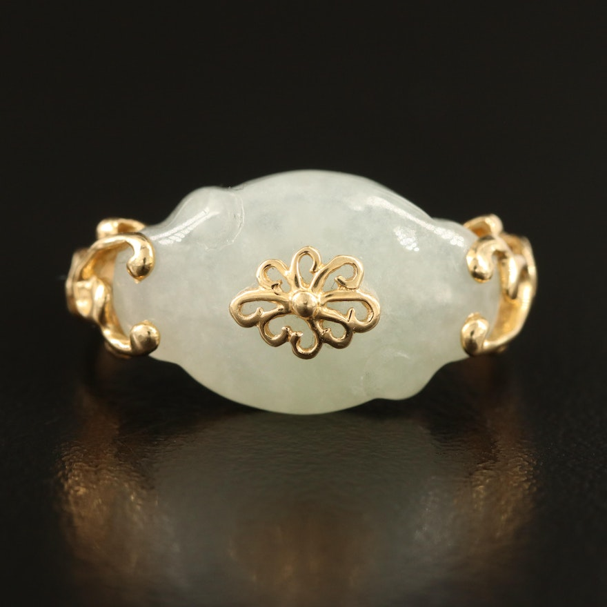 Chinese 14K Carved Jadeite Ring with Scroll Detail