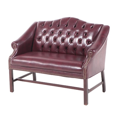 Fulmarque Inc. Chippendale Style Buttoned-Down Faux-Leather Loveseat