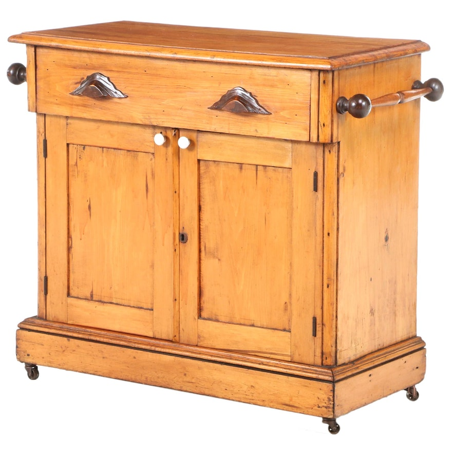 Victorian Scrubbed Pine and Ash Washstand, Late 19th Century