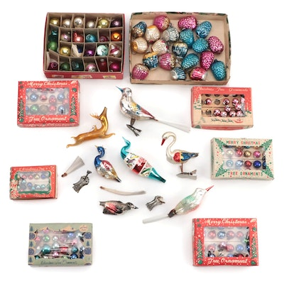 Shiny-Brite and Other Christmas Ornaments and Tree Decorations, Mid-20th Century