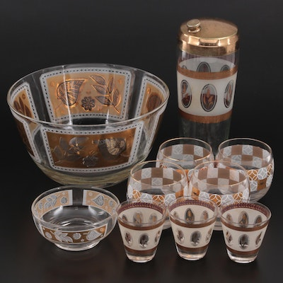 Mid-Century Cocktail Glasses, Bowls, and Shaker with Frosted and Gold Motif