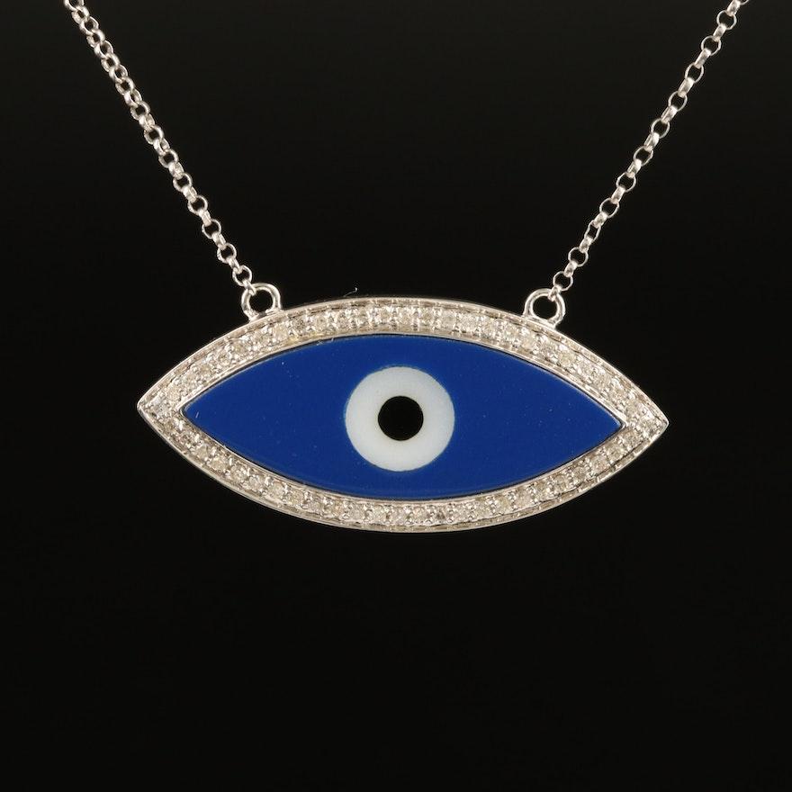 14K 0.25 CTW Diamond and Glass Evil Eye Necklace