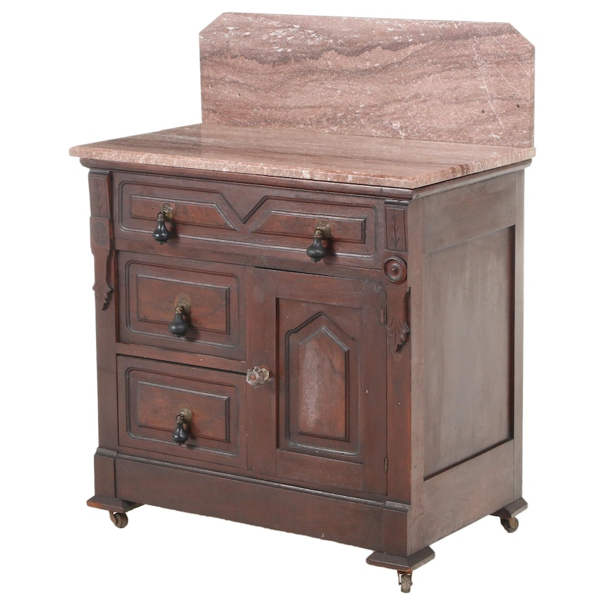 Victorian Walnut, Burl Walnut, and Rouge Marble Washstand, Late 19th Century