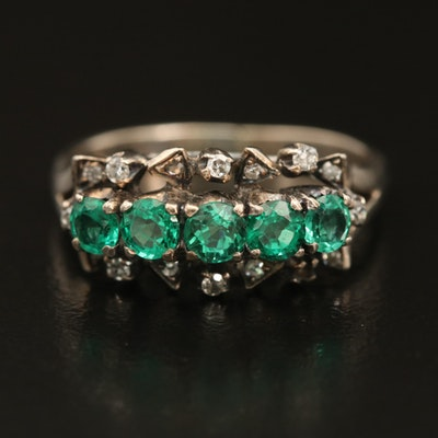 Vintage 800 Silver Emerald and Diamond Ring