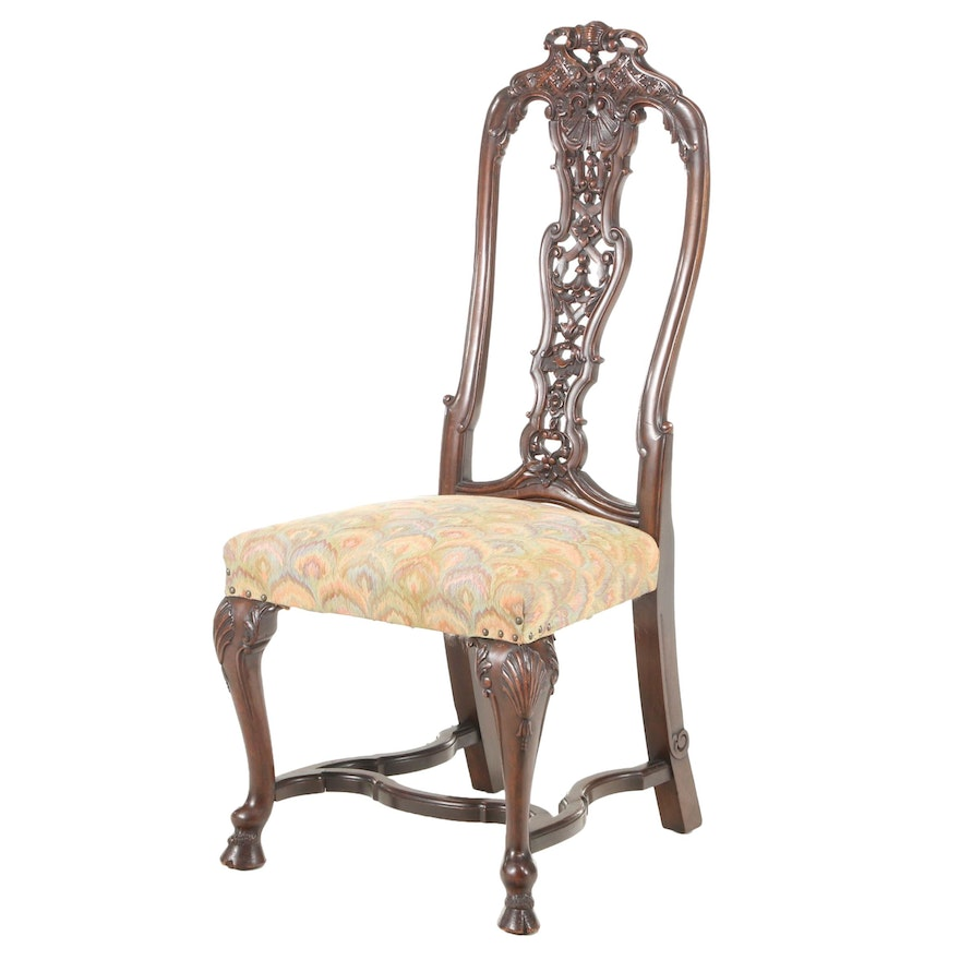 Anglo-Dutch Carved Walnut Side Chair, Early 20th Century