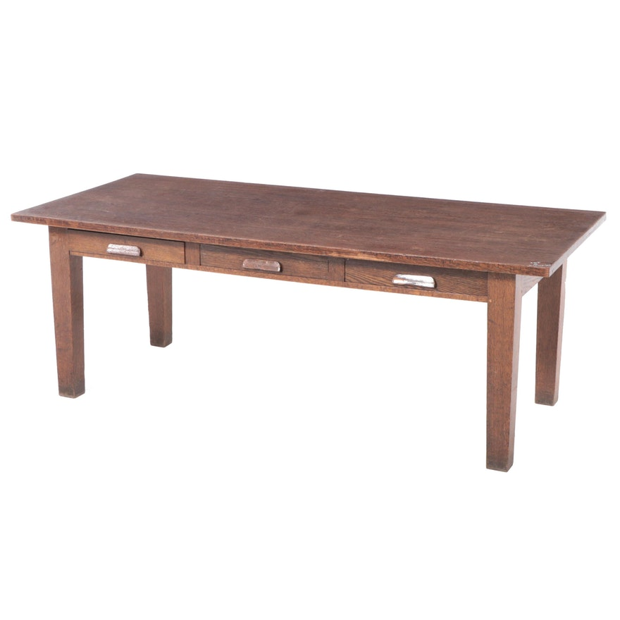 Paine Furniture Co. Arts and Crafts Quartersawn Oak Three-Drawer Library Table