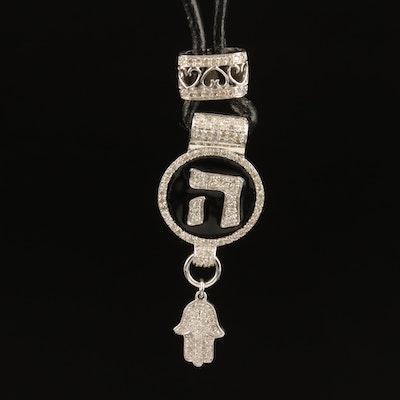 14K 0.49 CTW Diamond and Enamel Chet and Hamsa Necklace