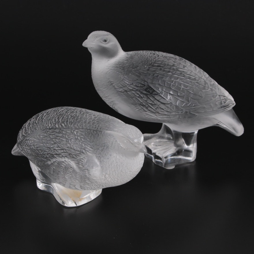 """Lalique """"Partridge Worry"""" and """"Partridge Squat"""" Frosted Crystal Figurines"""