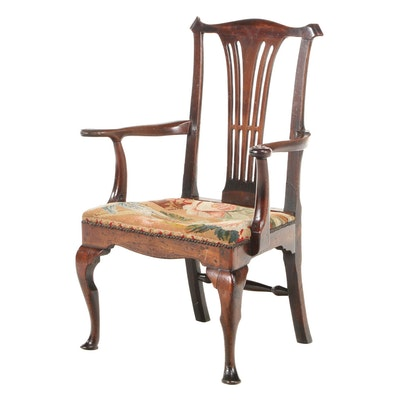 George II Walnut and Needlepoint Open Armchair, Mid-18th Century