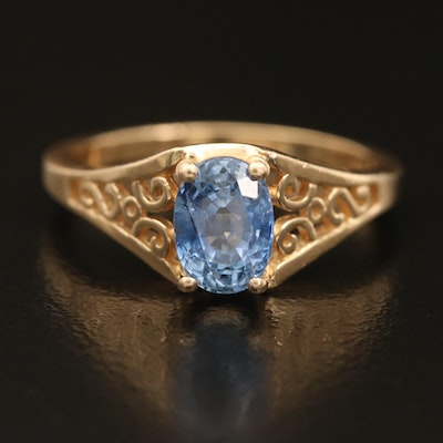 14K 1.48 CT Sapphire Ring with Open Scrollwork Shoulders