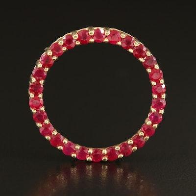 14K Ruby Circle Pendant